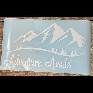 Adventure Awaits Mountains Large White Vinyl Decal